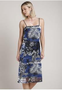 Vestido Feminino Em Tule Estampado De Folhagens Alça Fina Com Cinto Azul