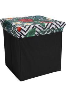 Puff Organizador Le Cube 30X30Cm Branco Floral