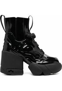 Maison Margiela Bota Tabi Com Plataforma - H8382 Black/Black Patent /Black