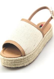 Avarca Espadrille Love Shoes Anabela Plataforma Corda Fechada Nude