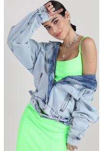 Jaqueta Jeans Biker Feminina Manu Gavassi Com Cinto Azul Claro