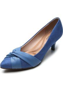 Scarpin Beira Rio Franzido Azul