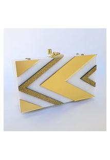 Clutch De Acrílico Setas (Branco Perolado, Espelhado Dourado E Glitter Dourado)