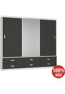 Guarda Roupa 3 Portas Com 1 Espelho 100% Mdf 1397E1 Branco/Café - Foscarini