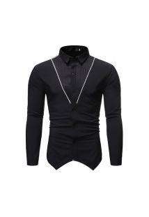 Camisa Masculina Gola Mandarim - Preta