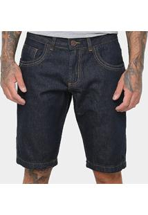 Bermuda Jeans Coffee Clássica Masculina - Masculino-Azul Escuro