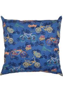 Capa Para Almofada Stm Home Infantil Veludo Bikes 42X42Cm Azul.