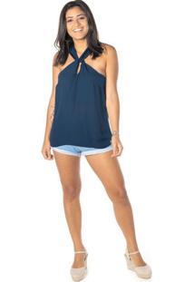 Blusa Com Detalhe Vazado - Azul Marinhodwz