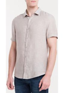 Camisa Mg Curta Regular Cannes Linen - Caqui Claro - 1