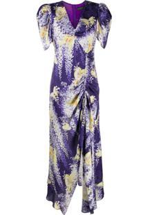 Etro Vestido Midi Com Estampa Floral E Franzido - Roxo
