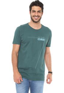 Camiseta Calvin Klein Jeans Logo Contorno Verde