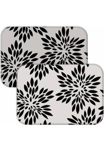 Jogo Americano Love Decor Wevans Flowers Off White/Preto