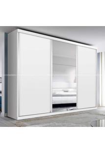 Guarda Roupa Casal Com Espelho 3 Portas De Correr 4 Gavetas Barcelona Siena Móveis Branco