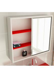 Espelheira De Banheiro 22 Quadrada 60 Cm Branco & Vermelho