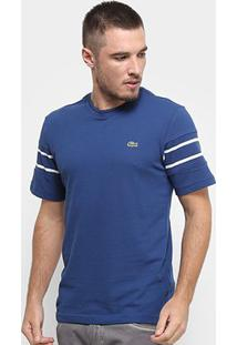 Camiseta Lacoste Listras Masculina - Masculino-Azul