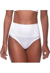 Calcinha Changerie Hot Pant Cintura Alta Branco Fio Dental Feminina - Feminino-Branco