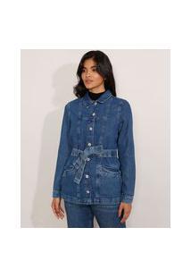 Jaqueta Alongada Jeans Com Cinto Azul Escuro