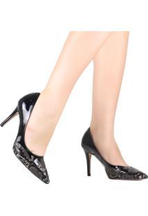 Sapato Scarpin Zariff Animal Print Verniz Preto