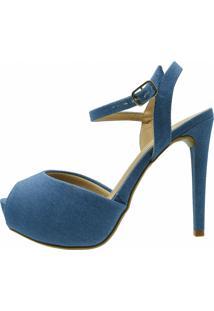 Sandália Love Store Meia Pata Salto Fino Jeans Azul