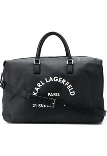 Karl Lagerfeld Logo Print Oversized Duffle Bag - Preto