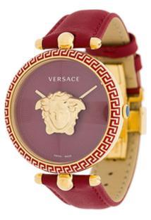 Versace Relógio 'Palazzo Empire' Em Couro E Com Aço Inoxidável E Safira - Vermelho