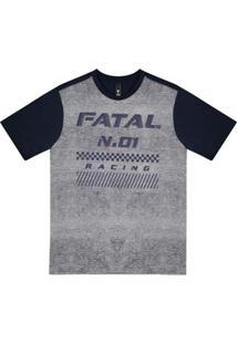 Camiseta Fatal Estampada Juvenil Masculina - Masculino-Cinza