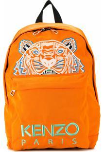 Kenzo Clutch Com Bordado De Tigre - Laranja