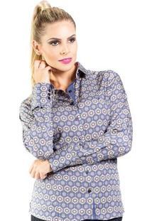 Camisa Carlos Brusman Feminina Slim Reta Arabesco - Feminino-Marinho