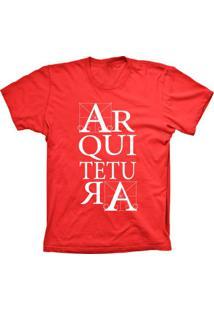 Camiseta Lu Geek Manga Curta Arquitetura Vermelho