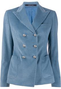 Tagliatore Janise Corduroy Double-Breasted Blazer - Azul