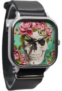 Relógio Bewatch Pulseira De Couro Preta Caveira Floral