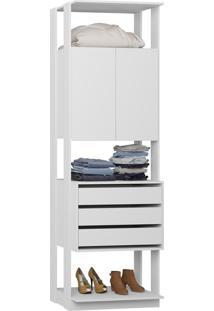 Guarda-Roupa Closet 2 Portas 3 Gavetas 70 Cm Branco - Bentec
