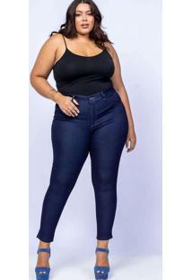 Calça Cigarrete Almaria Plus Size Shyros Jeans Azu