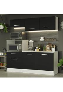Cozinha Compacta Madesa Onix 180001 Com Armã¡Rio E Balcã£O - Branco/Preto Branco - Branco - Dafiti