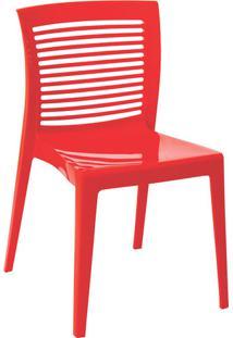Cadeira Tramontina Victória Encosto Vazado Horizontal Vermelho