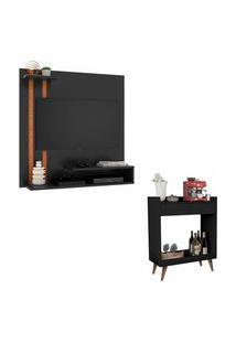 Kit Painel Para Tv Smart Plus Preto Com Nature E Aparador Retrô Com 2 Gavetas Loretto Preto