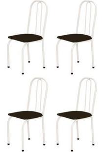 Kit 4 Cadeiras Baixas 0.101 Assento Reto Branco/Tabaco - Marcheli