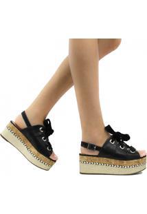Sandália Zariff Shoes Plataforma Fivela Cadarço Preto