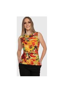 Blusa Floral Bianca Carbella Básica Com Laço Casual Liganete Confort Amarelo Laranja
