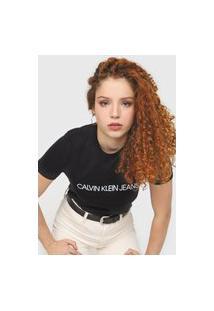 Camiseta Calvin Klein Jeans Logo Embossed Preta