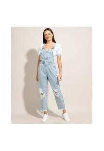"Macacão Jeans ""Juliette"" Baggy Destroyed Azul Claro"