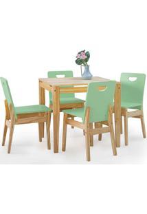 Conjunto De Mesa De Jantar Com 4 Cadeiras Tucupi 80Cm - Acabamento Stain Natural E Verde Sálvia