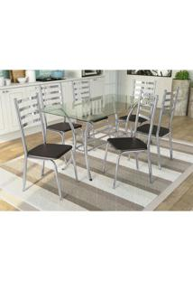 Conjunto Mesa Dária C/ 6 Cadeiras Alemanha Cromado/Preto Kappesberg - Tricae