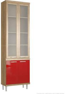 Cristaleira 4 Portas 5121 Sicília Com Vidro 231,5 X 70 X 32 Argila/Vermelho - Multimoveis