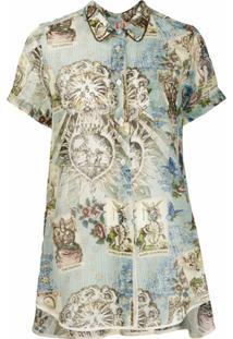 F.R.S For Restless Sleepers Blusa Com Estampa E Barra Assimétrica - Azul