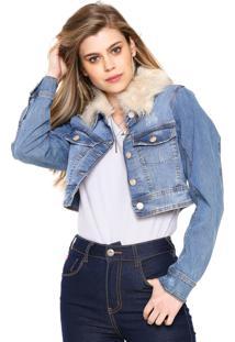 Jaqueta Jeans Lez A Lez Desgastes Azul