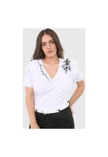 Camiseta Lança Perfume Bordado Branca