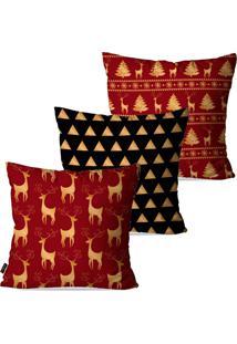 Kit Com 3 Capas Para Almofadas Pump Up Decorativas Natalinas Renas Douradas Fundo Vermelho 45X45Cm