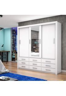 Guarda Roupa Casal Com Espelho 3 Portas De Correr Anjos Carioca Móveis Branco