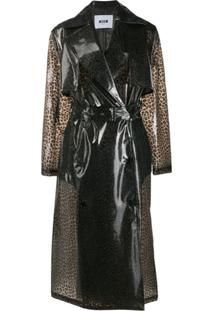 Msgm Trench Coat Animal Print - Cinza